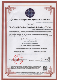 Quality Management System Certificate ISO 9001:2015 Standard